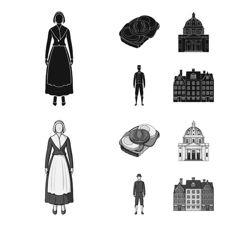 Denmark, history, restaurant, and other  icon in black,monochrom style.Sandwich, food, bread icons in set collection