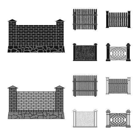 A fence of metal and bricks, wooden palisade. A different fence set collection icons in black, monochrome style vector symbol stock illustration .