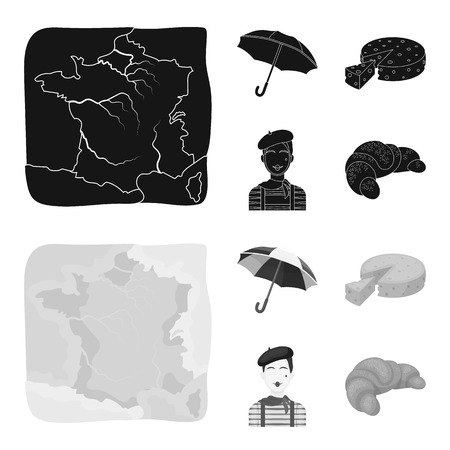 Umbrella, traditional, cheese, mime .France country set collection icons in black,monochrom style vector symbol stock illustration web.