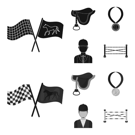 Saddle, medal, champion, winner .Hippodrome and horse set collection icons in black,monochrom style vector symbol stock illustration .