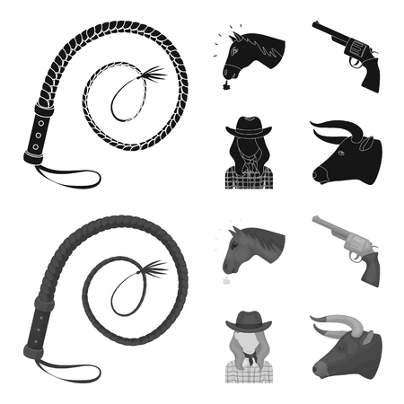 Head of a horse, a bull head, a revolver, a cowboy girl.Rodeo set collection icons in black,monochrom style vector symbol stock illustration . Illustration