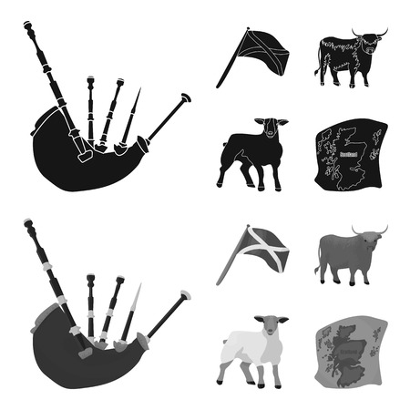 The state flag of Scotland, the bull, the sheep, the map of Scotland. Scotland set collection icons in black,monochrom style vector symbol stock illustration . Çizim