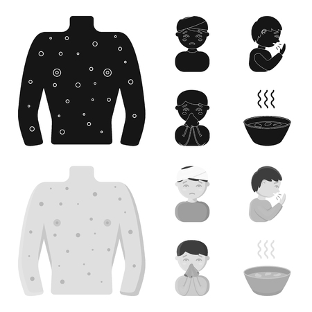 A man with a bandaged head, a man coughing, a man snorts a snot, a bowl, a bowl of hot broth into a handkerchief. Sick set collection icons in black,monochrom style vector symbol stock illustration .