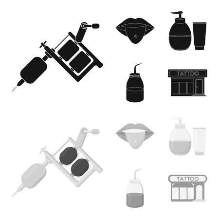 Piercing in tongue, gel, sallon. Tattoo set collection icons in black,monochrom style vector symbol stock illustration .
