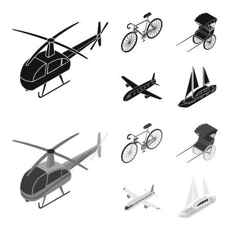 Bicycle, rickshaw, plane, yacht.Transport set collection icons in black,monochrom style vector symbol stock illustration web. Vettoriali