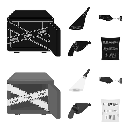 The detective flashlight illuminates the footprint, the criminal hand with the master key, a pistol in the holster, the kidnapper claim. Crime and detective set collection icons in black,monochrom style vector symbol stock illustration .