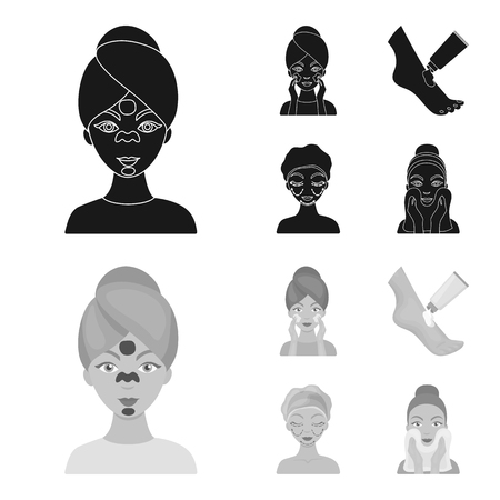 Face care, plastic surgery, face wiping, moisturizing the feet. Skin Care set collection icons in black,monochrom style vector symbol stock illustration .