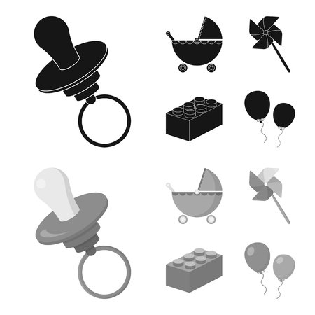 Stroller, windmill, lego, balloons.Toys set collection icons in black,monochrom style vector symbol stock illustration .
