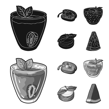 Sweet Bulgarian pepper, vitamin drink, jam with raspberry and mint leaves, a piece of watermelon. Vegetarian dishes set collection icons in black,monochrom style vector symbol stock illustration .