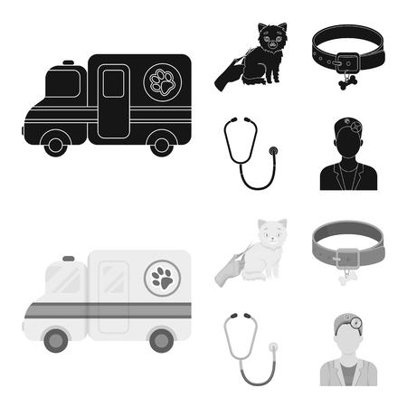 Collar, bone, cat, haircut .Vet Clinic set collection icons in black,monochrom style vector symbol stock illustration . Çizim