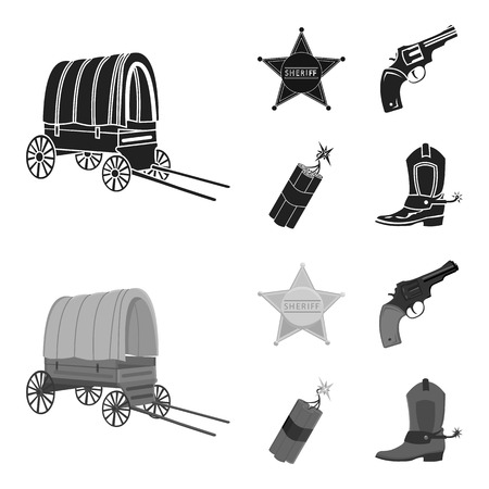 Star sheriff, Colt, dynamite, cowboy boot. Wild West set collection icons in black,monochrom style vector symbol stock illustration . Stok Fotoğraf - 100999059