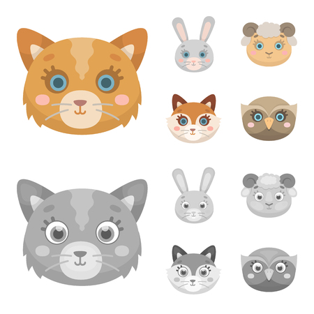 Cat, rabbit, fox, sheep. Animal muzzle set collection icons in cartoon,monochrome style vector symbol stock illustration . Иллюстрация