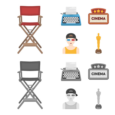 Chair of the director, typewriter, cinematographic signboard, film-man. Films and cinema set collection icons in cartoon,monochrome style vector symbol stock illustration . Stock Illustratie