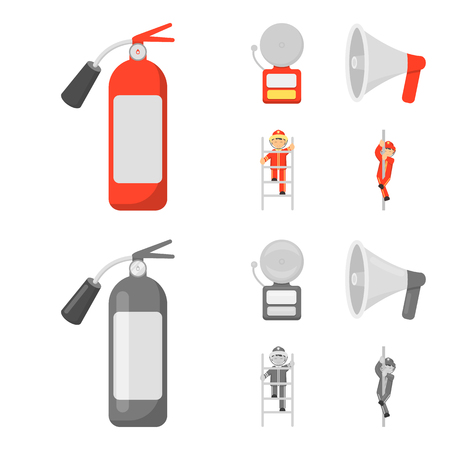 Fire extinguisher, alarm, megaphone, fireman on the stairs. Fire departmentset set collection icons in cartoon,monochrome style vector symbol stock illustration .