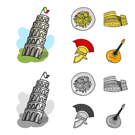 Pisa tower, pasta, coliseum, Legionnaire helmet.Italy country set collection icons in cartoon,monochrome style vector symbol stock illustration .
