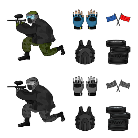 Paintball set collection icons.