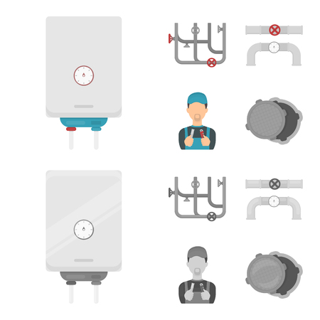 Plumbing set collection icons.