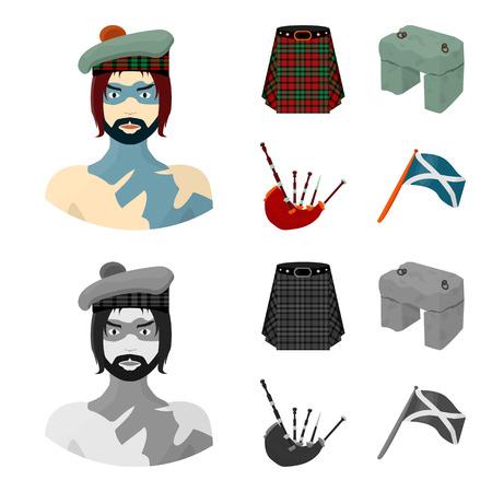 Highlander, Scottish Viking, tartan, kilt, scottish skirt, scone stone, national musical instrument of bagpipes. Scotland set collection icons in cartoon,monochrome style vector symbol stock illustration . Ilustração