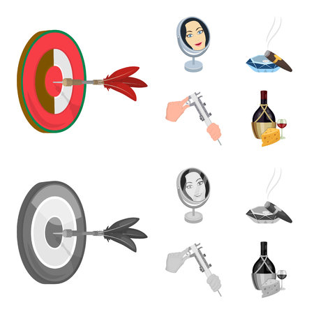 Game Darts, reflection and other icon in cartoon,monochrome style. Cigar , calipers icons in set collection.