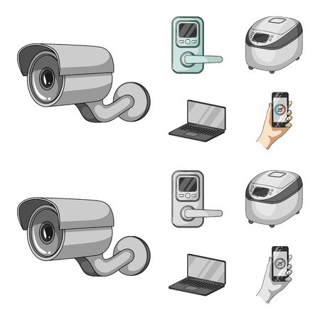 Home appliances and equipment cartoon,monochrome icons in set collection for design.Modern household appliances vector symbol stock  illustration. 向量圖像
