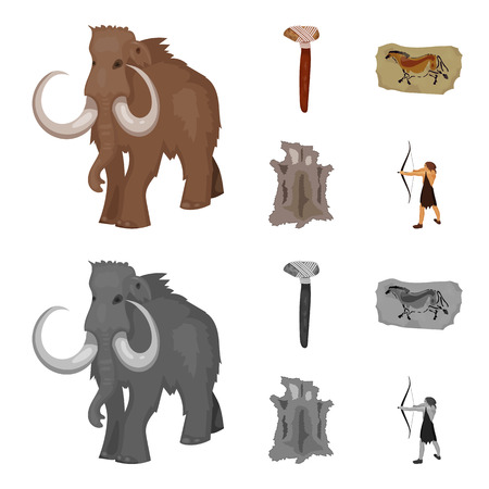 Primitive, mammoth, weapons, hammer .Stone age set collection icons in cartoon,monochrome style vector symbol stock illustration . Vectores