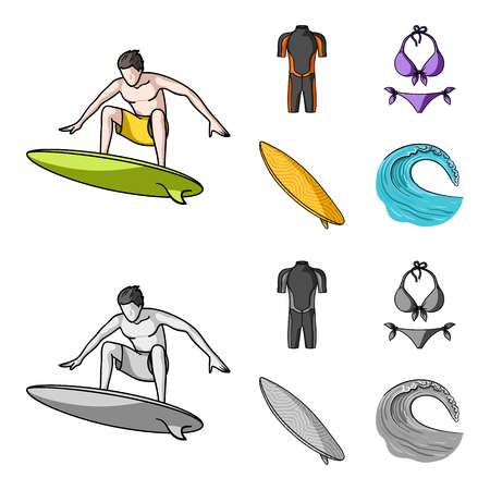 Surfing set collection icons. Иллюстрация