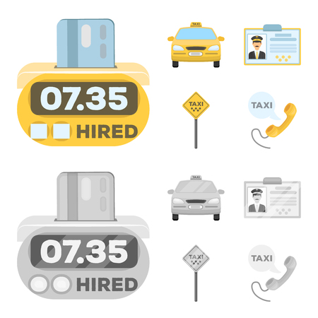 Taxi set collection icons.