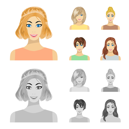 Types of female hairstyles cartoon,monochrome icons in set collection for design. Appearance of a woman vector symbol stock  illustration.