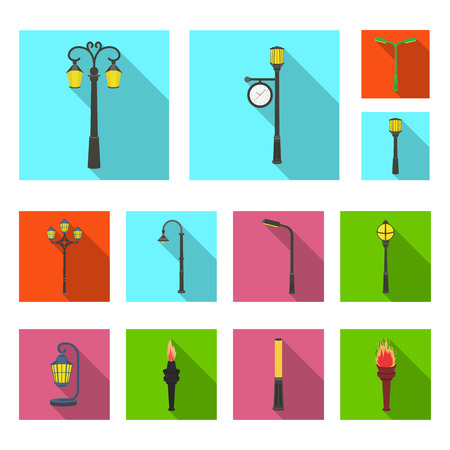 Lamp post flat icons in set collection for design. Lantern and lighting vector symbol stock  illustration. Çizim
