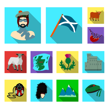 Country Scotland flat icons in set collection for design. Sightseeing, culture and tradition vector symbol stock  illustration.
