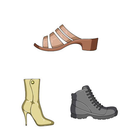 Different shoes cartoon icons in set collection for design. Men and women shoes vector symbol stock illustration.