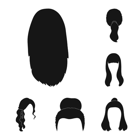 Female hairstyle black icons in set collection for design. Stylish haircut vector symbol stock web illustration.