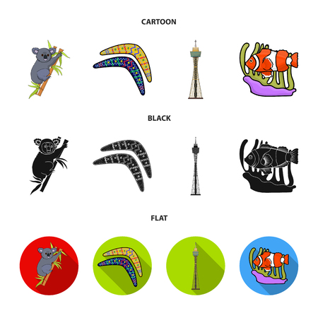 Koala on bamboo, boomerang, Sydney tower, fish clown and ammonium.Australia set collection icons in cartoon,black,flat style vector symbol stock illustration .