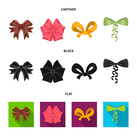 Bow, ribbon, decoration, and other icon in cartoon,black,flat style. Gift, bows node icons in set collection