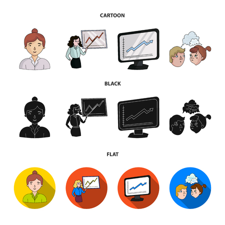 Businesswoman, growth charts, brainstorming.Business-conference and negotiations set collection icons in cartoon,black,flat style vector symbol stock illustration . Иллюстрация