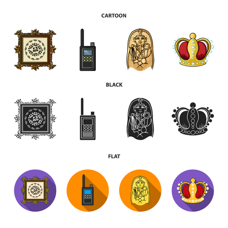 Picture, sarcophagus of the pharaoh, walkie-talkie, crown. Museum set collection icons in cartoon,black,flat style vector symbol stock illustration web. Illustration