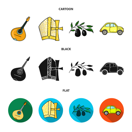 Mandolin, papa, olive, retro auto.Italy country set collection icons in cartoon,black,flat style vector symbol stock illustration web.