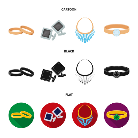 Wedding rings, cuff links, diamond necklace, women ring with a stone. Jewelery and accessories set collection icons in cartoon,black,flat style vector symbol stock illustration web. Illustration