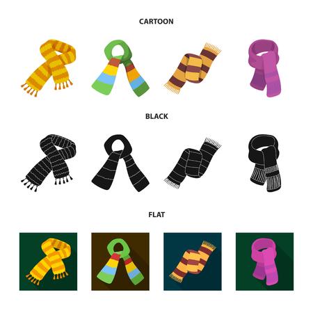 Various kinds of scarves vector illustration set Illustration