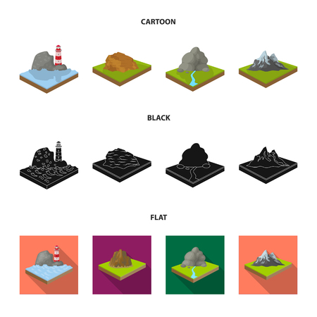 Mountains set collection icons Illustration