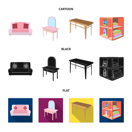 Soft sofa, toilet make-up table, dining table, shelving for laundry and detergent. Furniture and interior set collection icons in cartoon,black,flat style isometric vector symbol stock illustration web.