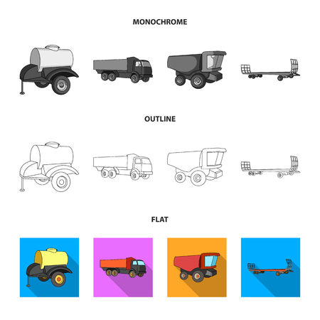Plow, combine thresher, trailer and other agricultural devices. Agricultural machinery set collection icons in flat,outline,monochrome style vector symbol stock illustration web.