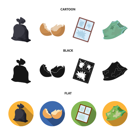 A garbage bag, a broken egg shell, a torn dirty T-shirt, a broken window frame with glass.Garbage and trash set collection icons in cartoon,black,flat style vector symbol stock illustration web.