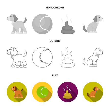 Dog set collection icons in flat,outline,monochrome style vector symbol stock illustration .