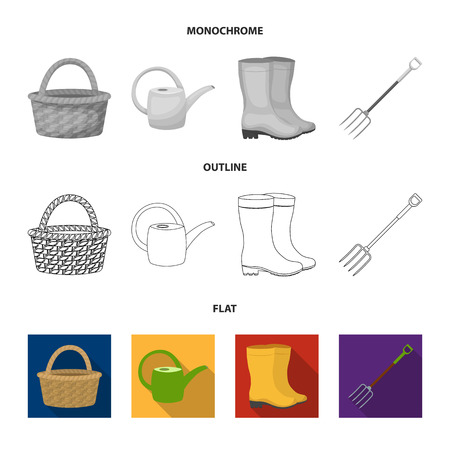 Farm and gardening set collection icons in flat,outline,monochrome style vector symbol stock illustration .