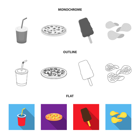 Fast food set collection icons in flat,outline,monochrome style vector symbol stock illustration .