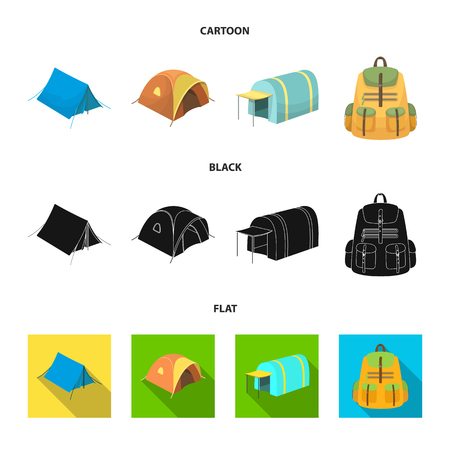 Backpack and other kinds of tents.Tent set collection icons in cartoon,black,flat style vector symbol stock illustration web.