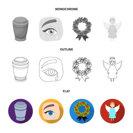 The urn with the ashes of the deceased, the tears of sorrow for the deceased at the funeral, the mourning wreath, the angel of death. Funeral ceremony set collection icons in flat,outline,monochrome style vector symbol stock illustration .