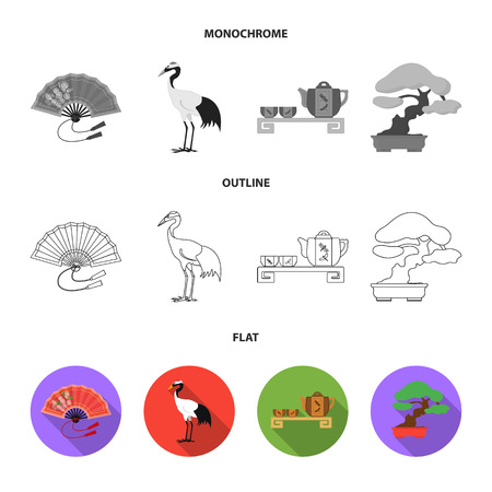 Fan, red crown crane, tea ceremony, bonsai.Japan set collection icons in flat,outline,monochrome style vector symbol stock illustration . 矢量图像