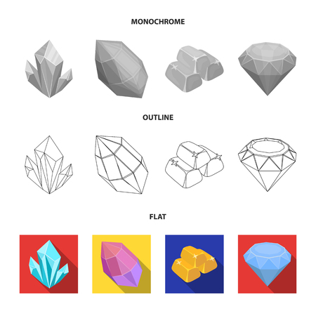 Crystals, iron ore. Precious minerals and a jeweler set collection icons in flat,outline,monochrome style vector symbol stock illustration .